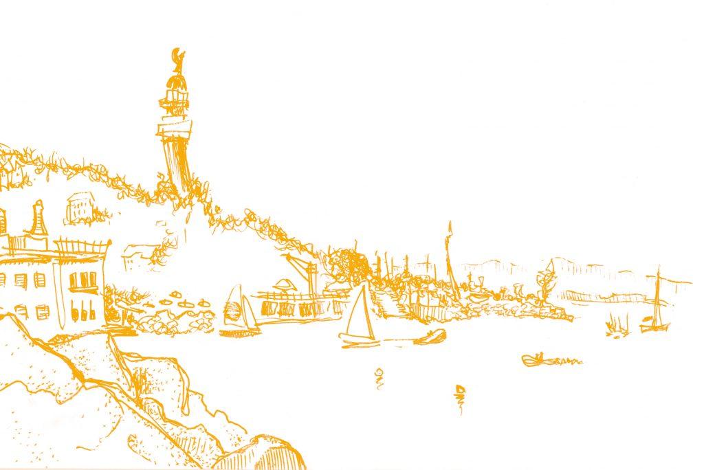 Illustrazione: Golfo di Trieste, veduta dal lungomare di Barcola